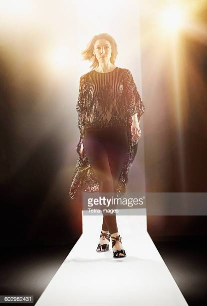 USA, New York State, New York City, Young woman at fashion show