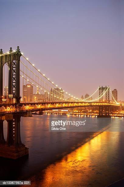 USA, New York State, New York, illuminated Brooklyn Bridge at dusk