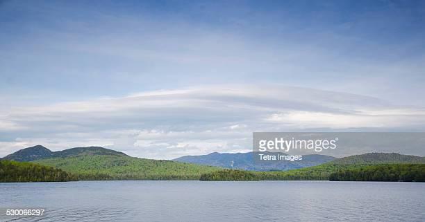 USA, New York State, Panorama of Lake Placid