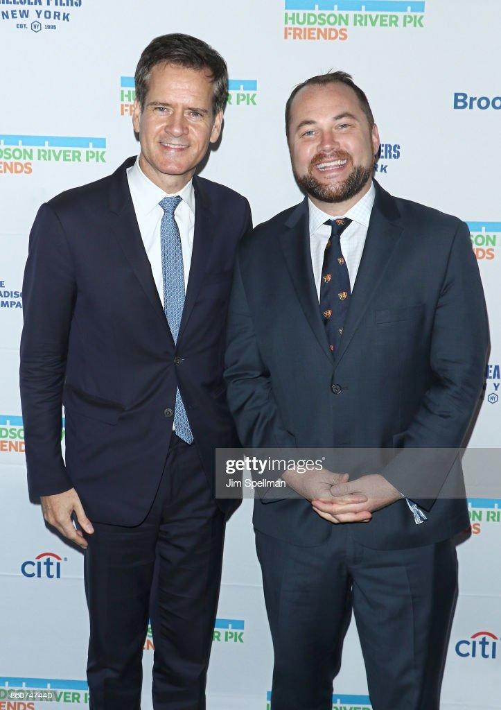 New York State Senate Brad Hoylman and Corey Johnson attend the 2017 Hudson River Park gala at Hudson River Park's Pier 62 on October 12, 2017 in New York City.