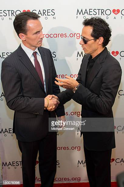 New York State Senate candidate John A Messer and musician Marc Anthony attend the 2012 Maestro Cares Foundation Benefit at El Museo Del Barrio on...