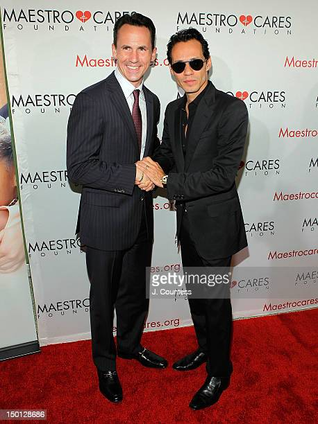 New York State Senate candidate John A Messer and singer Marc Anthony attends the Maestro Cares Foundation Benefit at El Museo Del Barrio on August 9...