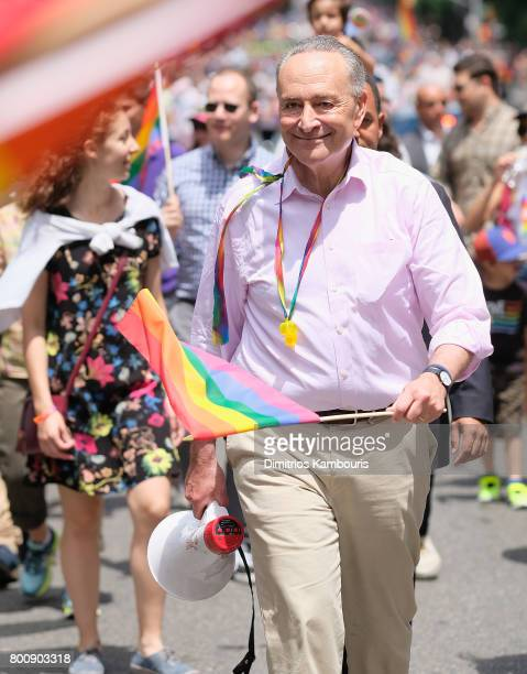 New York State Senator Chuck Schumer attends the New York City Gay Pride 2017 march on June 25 2017 in New York City