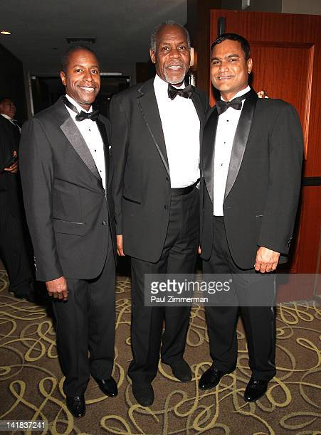 New York State Senator Malcolm A Smith Danny Glover and Danny Sawh President of Boys Girls Club of Mount Vernon New York attend the Boys Girls Club...