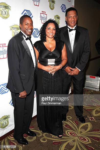 New York State Senator Malcolm A Smith Sita Lewis daughter of the late Butch Lewis and YES Network Announcer Ken Singleton attend the Boys Girls Club...