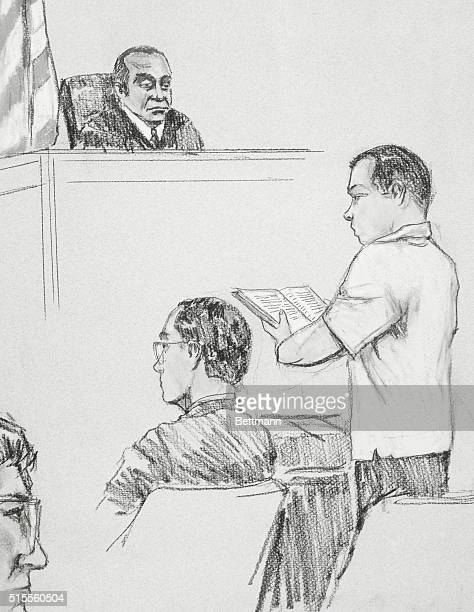 State Supreme Court Justice Dennis Edwards listens as Mark David Chapman reads the final passage of catcher in the Rye in Manhattan courtroom Justice...