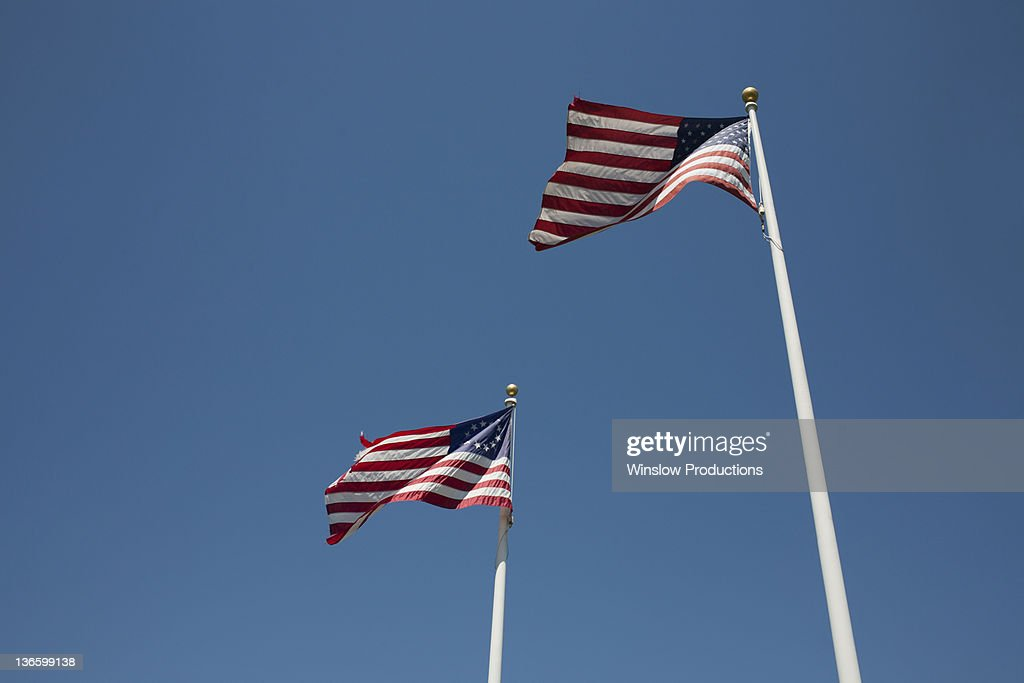 USA, New York State, Two American flags : Stock Photo