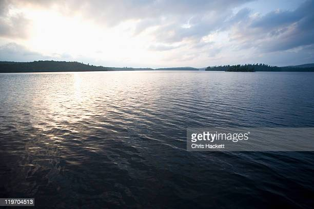 usa, new york state, view of adirondack mountains over upper saranac lake - hackett stock photos and pictures