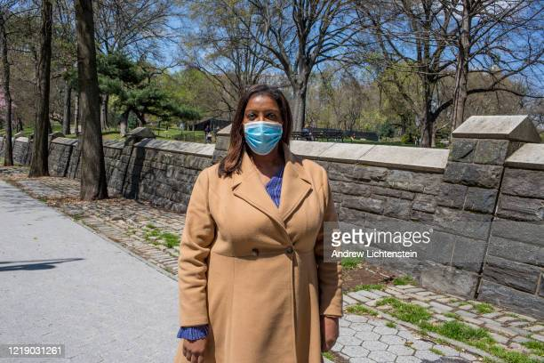 New York State's Attorney General Letitia takes a walk through her neighborhood on April 15, 2020 in Brooklyn, New York.