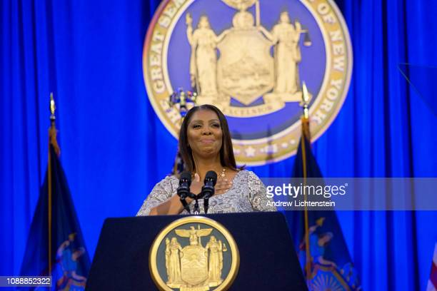 New York State's recently elected Attorney General Letitia James takes the oath of office and attends her and Governor Cuomo's inauguration on...