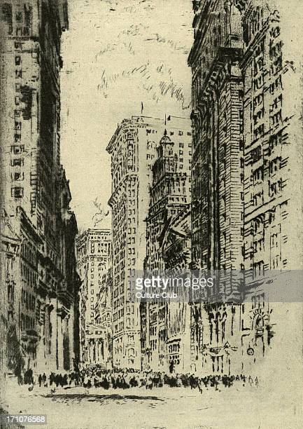 New York Stock Exchange and surrounding skyscrapers early 20th century Etching by Joseph Pennell American artist 4 July 1857 23 April 1926
