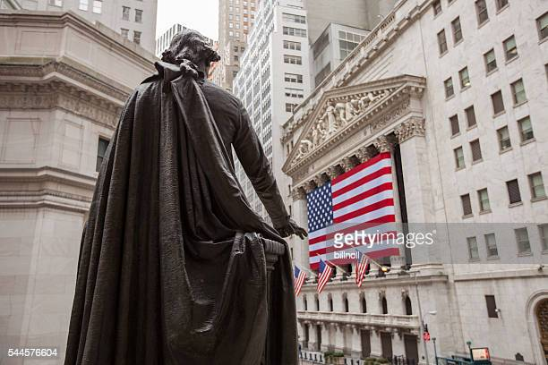 New York Stock Exchange building sign and George Washington statue