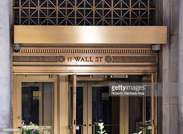 New York Stock exchange entrance at 11 Wall street Lower Manhattan New York city USA The NYSE also known as the Big Board is an American stock...