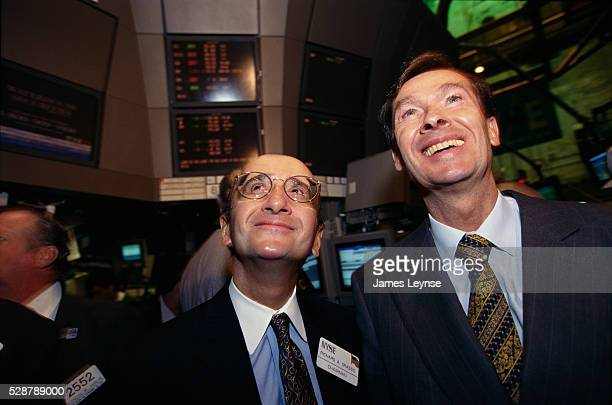 New York Stock Exchange President Richard Grasso and Hoechst Corporation Chief Executive Officer Jurgen Dormann watch for Hoechst stock to pass on a...