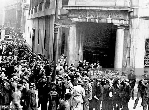 New York Stock Exchange Scores milled about the entrance to the Stock Exchange as the market went through the greatest gyrations in its history Here...