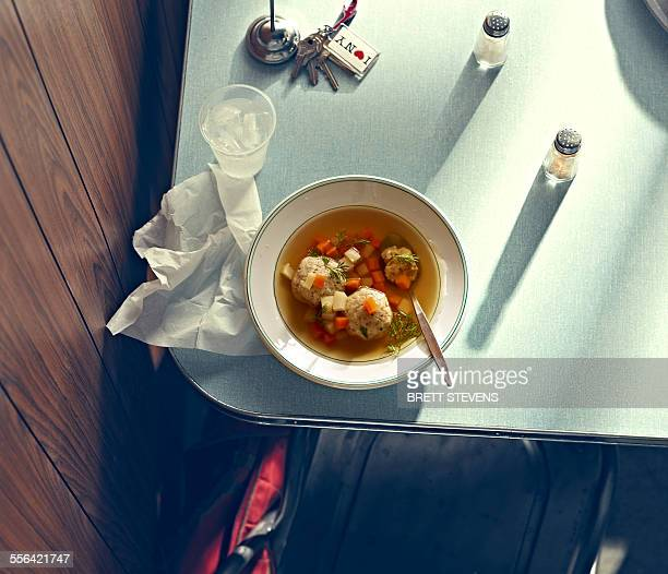 new york style diner series - matzo ball soup - matzah stock pictures, royalty-free photos & images