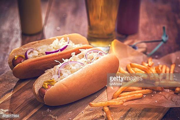 New York Style Hot Dog with Sauerkraut, Onions and Mustard