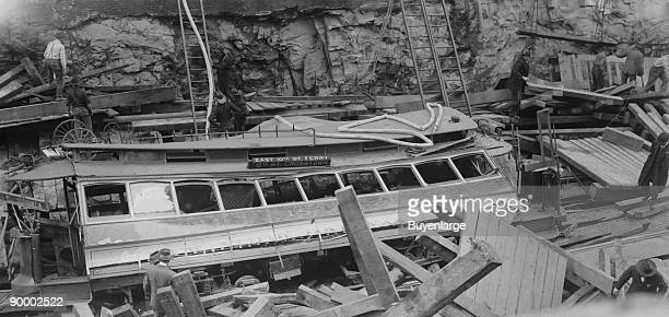 New York Subway Cavein with demolished trolley or train