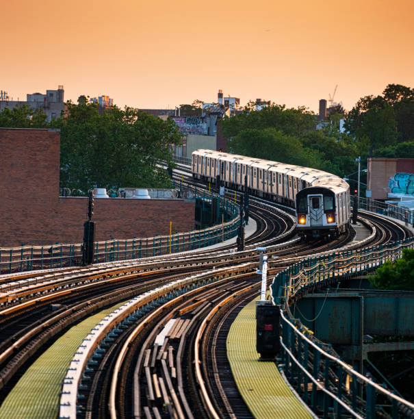 New York subway train approaching to Mets-Willets Point Station in Queens New York