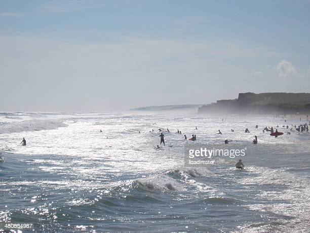 usa, new york, suffolk county, montauk ditch plains beach in summer - ditch stock photos and pictures