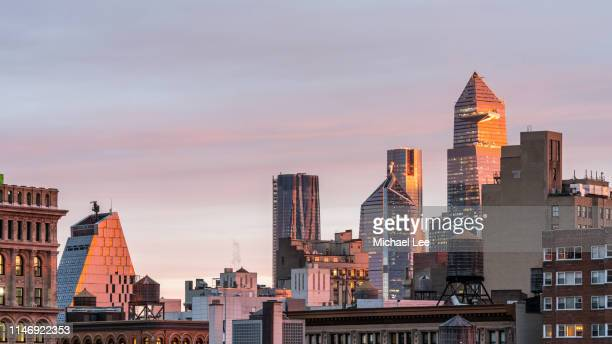 new york sunrise skyline view from the east village - east village stock pictures, royalty-free photos & images