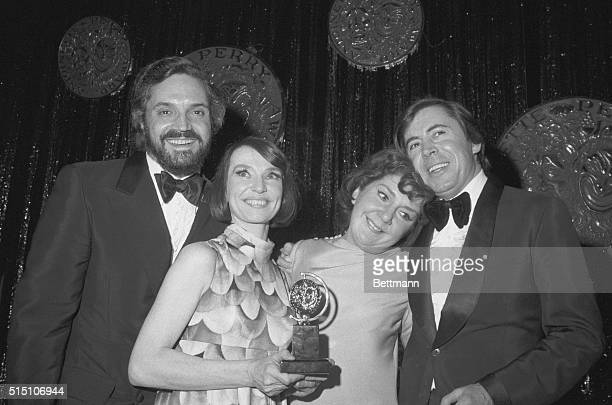 New York: The four top Tony Award winners get together after the presentations at the Palace Theater here, March 28. Left to right: Hal Linden, Best...