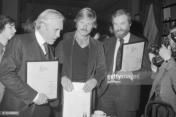 The men responsible for the success of the movie All the President's Men are shown Jason Robards Robert Redford and Alan Pakula at the New York Film...