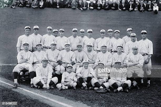 New York: The New York Yankees--American League Champions Of 1921. The victorious New York Yankees photographed at the Polo Grounds, New York, Oct....
