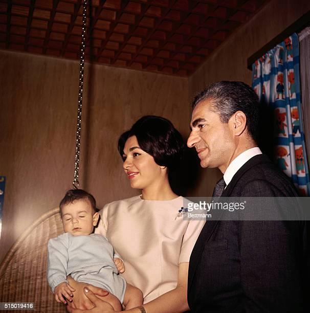 The Shah of Iran with his wife Empress Farah Diba and Crown Prince Reza
