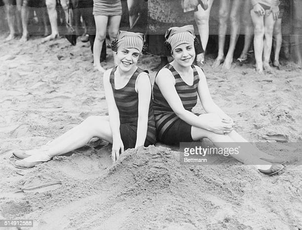 The Siamese Twins Take their First Dip Of The season Daisy and Violet Hilton the Siamese twins from San Antonio Texas go in for their first dip of...