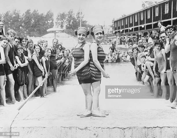 The Siamese Twins Take Their First Dip Of The Season Daisy and Violet Hilton the Siamese twins form San Antonio Texas go in for their first dip of...
