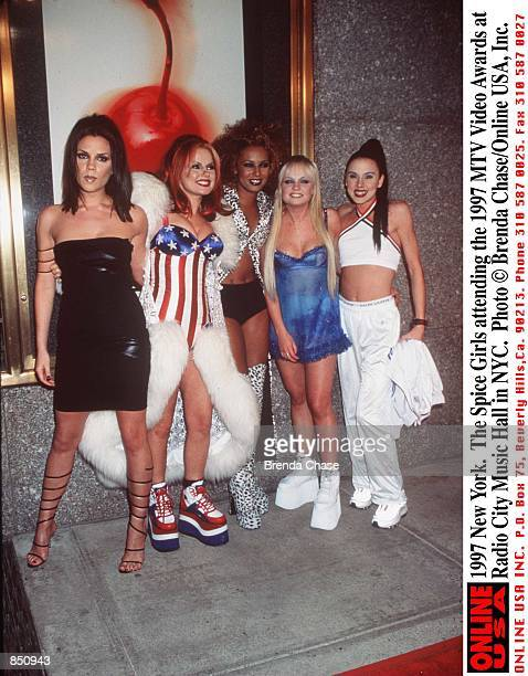 New York The Spice Girls attending the 1997 MTV Video Awards at the Radio City Music Hall in NYC From left to right Victoria Addams Geri Halliwell...