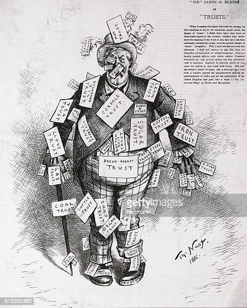 Thomas Nast antitrust cartoon 1888 'Sir James G Blaine'
