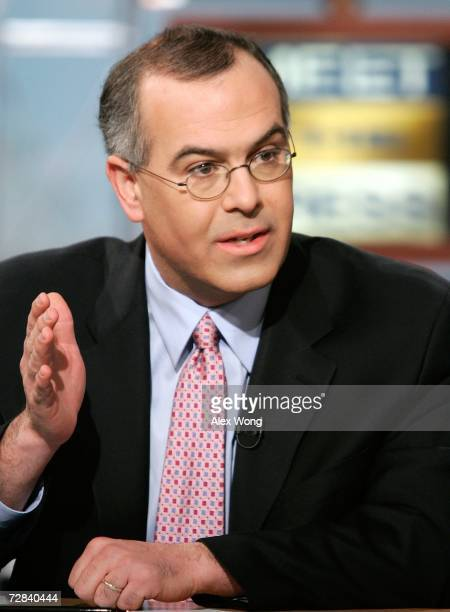 New York Times columnist David Brooks speaks during a taping of Meet the Press at the NBC studios December 17 2006 in Washington DC Brooks spoke on...