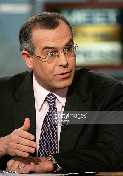 New York Times columnist David Brooks speaks during a taping of NBC's 'Meet the Press' at the NBC studios December 11 2005 in Washington DC Brooks...