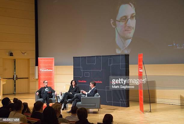 New York Times Columnist David Carr Filmmaker Laura Poitras Journalist Glenn Greenwald and National Security Agency whistleblower Edward Snowden...