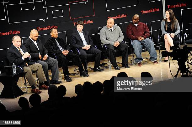 New York Times columnist Jim Dwyer Kevin Richardson Korey Wise director Ken Burns Raymond Santana Antron McCray and director/ author Sarah Burns...