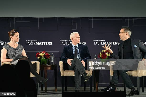 New York Times dining reporter Julia Moskin curator Klaus Biesenbach and Chef Yotam Ottolenghi speak onstage at The New York Times TasteMasters...