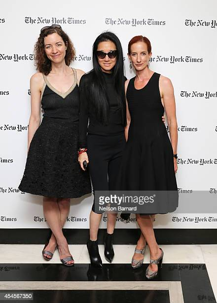 New York Times fashion features writer Alexandra Jacobs fashion designer Vera Wang and New York Times Fashion Director Vanessa Friedman attend the...