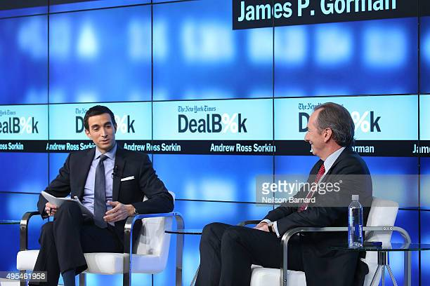 New York Times financial columnist Andrew Ross Sorkin participates in a panel discussion with Chairman and CEO of Morgan Stanley James P Gorman at...