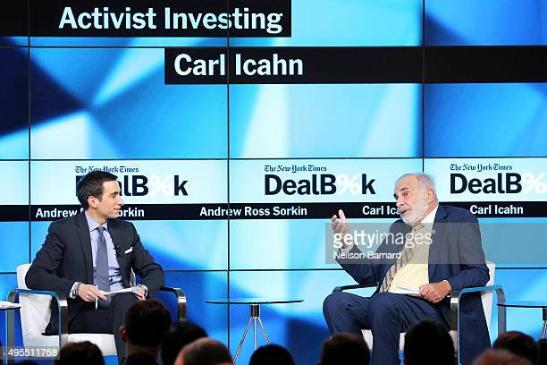 New York Times financial columnist Andrew Ross Sorkin participates in a panel discussion with chairman of Icahn Enterprises Carl Icahn at the New...