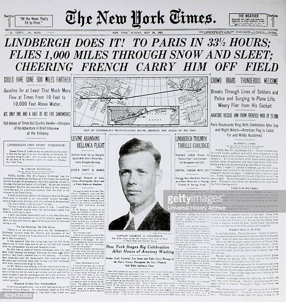 New York Times Front Page, Lindbergh Does It!, May 22, 1927.