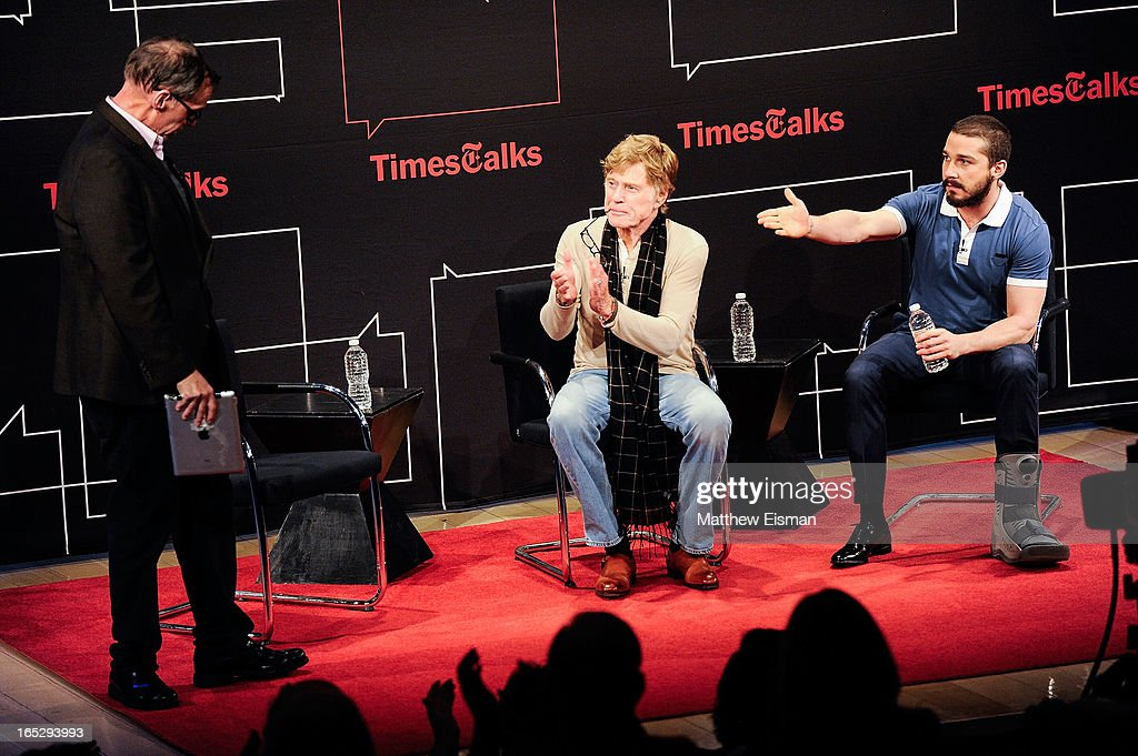 New York Times media columnist David Carr, actor/ director Robert Redford and actor Shia LaBeouf attend TimesTalks Presents: 'The Company You Keep' at TheTimesCenter on April 2, 2013 in New York City.