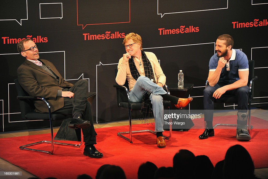 New York Times media columnist David Carr, Robert Redford and Shia LaBeouf attend TimesTalks Presents: 'The Company You Keep' at TheTimesCenter on April 2, 2013 in New York City.