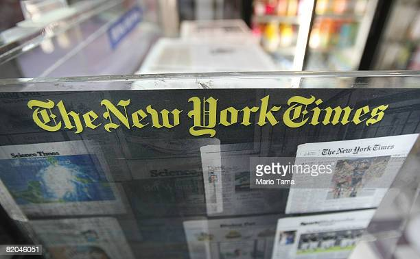 New York Times paper rack is seen July 23, 2008 in New York City. The New York broadsheet announced it posted an 82 percent decline in second quarter...