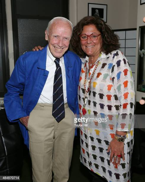 New York Times Photographer Bill Cunningham and Fashion Week founder Fern Mallis pose before their interview for 'Fashion Icons with Fern Mallis' at...