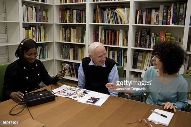 New York Times Photographer Bill Cunningham being recorded for a web podcast describing what he photographed this week May 2008 in New York City