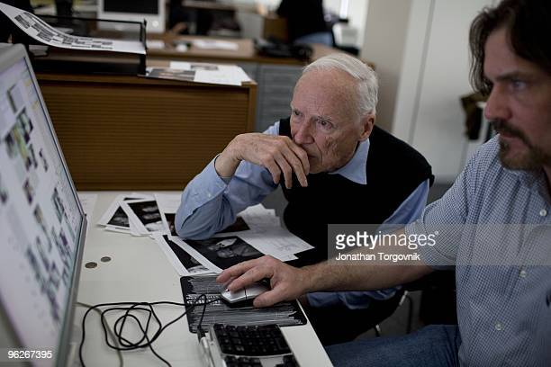 New York Times Photographer Bill Cunningham working with designers on the layout of his column May 2008 in New York City He is very particular and...