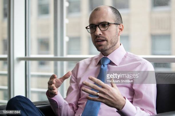 New York Times Publisher Arthur Gregg Sulzberger speaks during the Asahi Shimbun interview on October 4 2018 in New York City