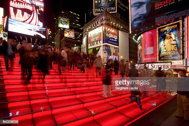 new york times square steps atop tkts - times square manhattan stock pictures, royalty-free photos & images